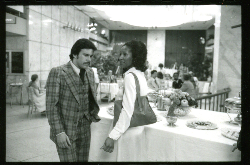 Alan Marlow and Shirley Peters on set in the Olympia Ballroom.