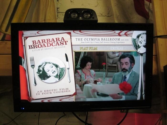 Barbara Broadcast Blu ray Main Menu on Flatscreen TV
