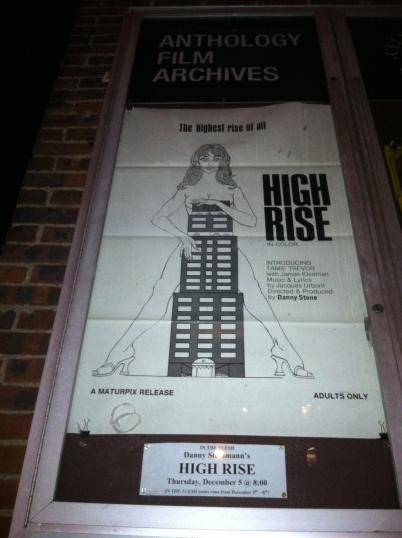 High Rise Movie Poster at Anthology Film Archives, facing 2nd avenue.