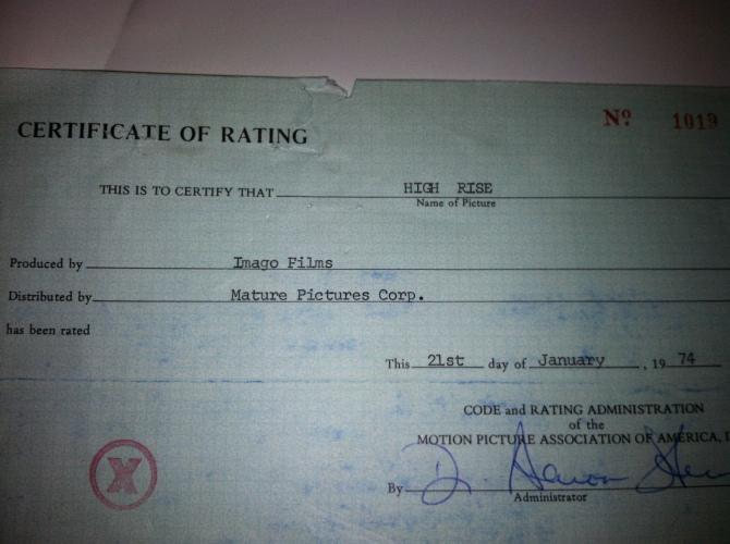 High Rise, Original certificate of X Rating.