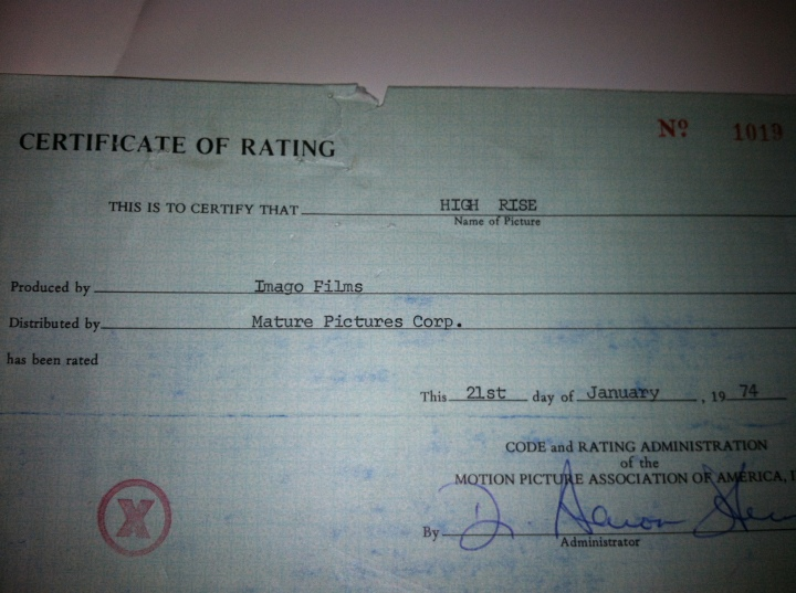 High Rise, Original certificate of X Rating.