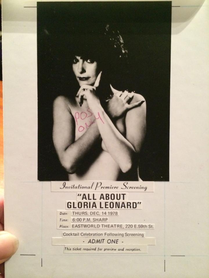 All About Gloria Leonard, Original theatrical Invitation- Art Board.© 2014 Distribix Inc.