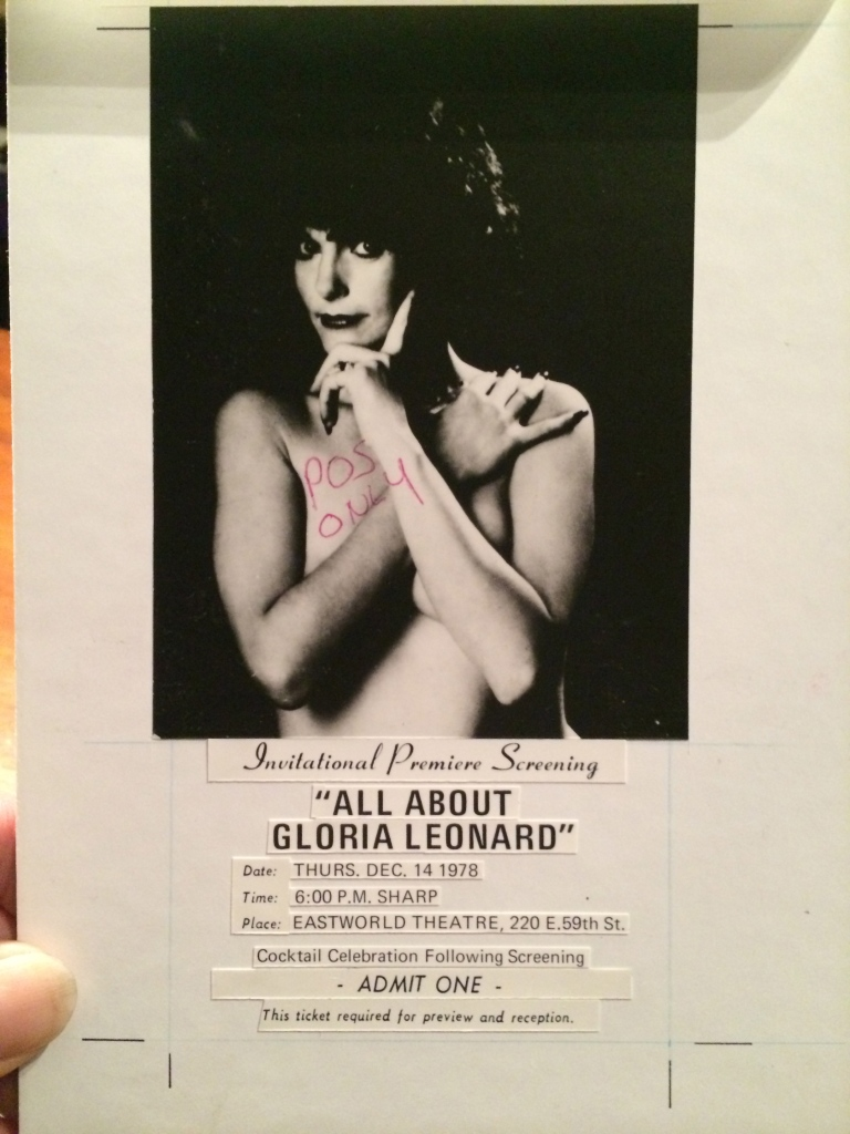All About Gloria Leonard, Original theatrical Invitation- Art Board.© 2014 Distribix Inc.
