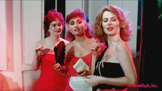 HD Screen Grab from Wanda Whips Wall Street. (L to R) Tish Ambrose, Samantha Fox and Veronica Hart.